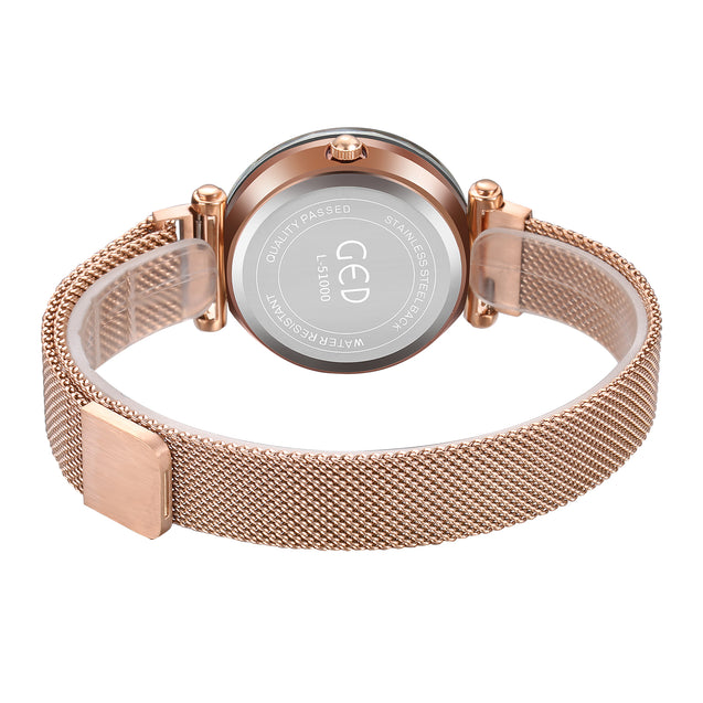Gedi Starry Night Minimalistic Rose Gold Magnetic Strap Luxury Watch For Women & Girls