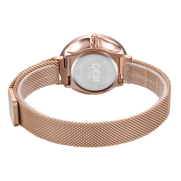 Gedi Classy Luxe Rose Gold Magnetic Strap Luxury Watch For Women & Girls