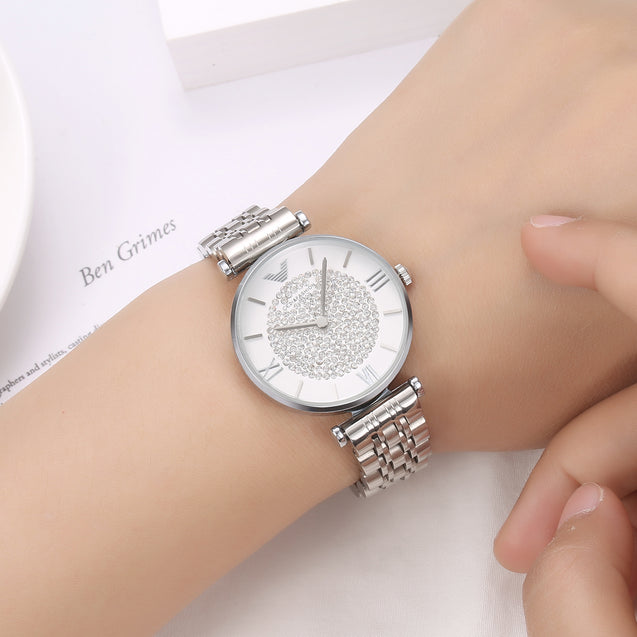 Gedi & Fashion Limited Edition Silver Studded Luxury Watch For Women & Girls