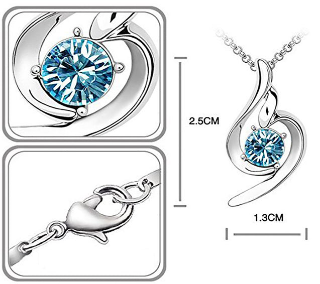 Addic Silver Blue Rhodium Plated Cubic Zirconia Alloy Pendant Valentine Gift for Girls and Women.