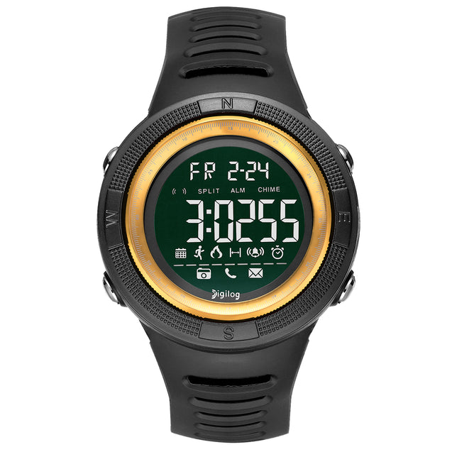 Digilog Wind Breaker Activewear Black & Gold Multi Function Watch for Men & Boys