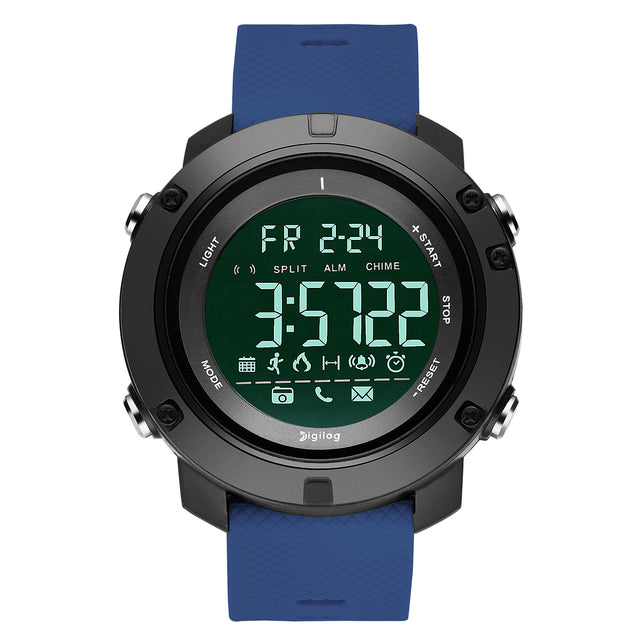 Digilog Future Light Blue Activewear Classy Digital Multi Function Watch for Men & Boys (Day, Date, Alarm, Backlight, Stopwatch & More)