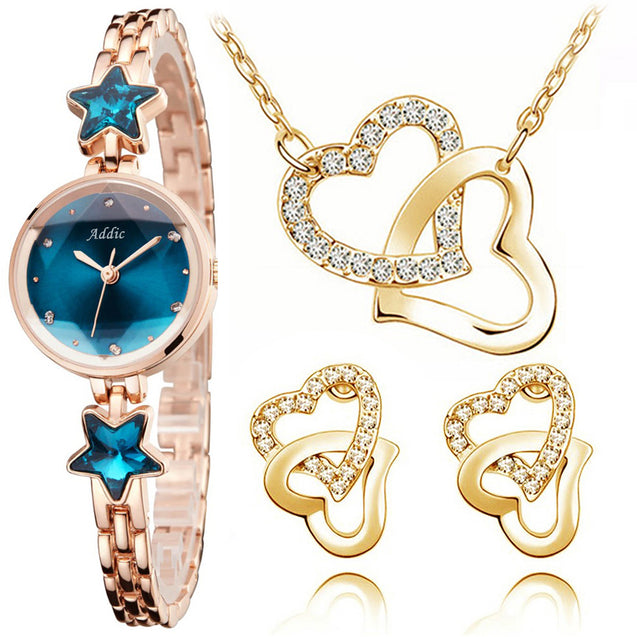 Addic Perfect Gift Heritage & Charm Watch & Hearts In Love Pendant Earring Set Combo (Perfect for Valentine's Gift/Anniversary Gift/Birthday Gift/Proposal Gifts)