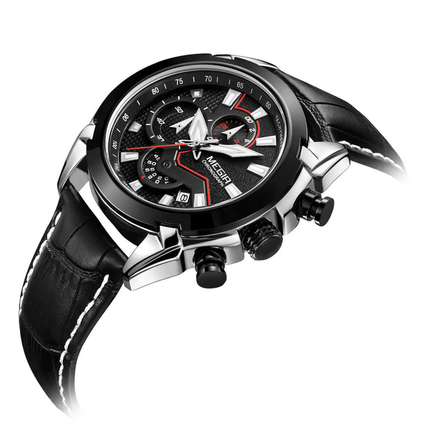 Megir Director's Moonlit Black Luxury Chronometer Watch For Men & Boys