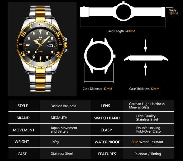 Megalith Legacy Classic Black Gold Luxury Watch