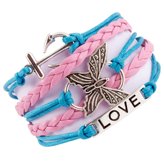 Addic Anchor Love Butterfly Lucky Charm Bracelet For Women