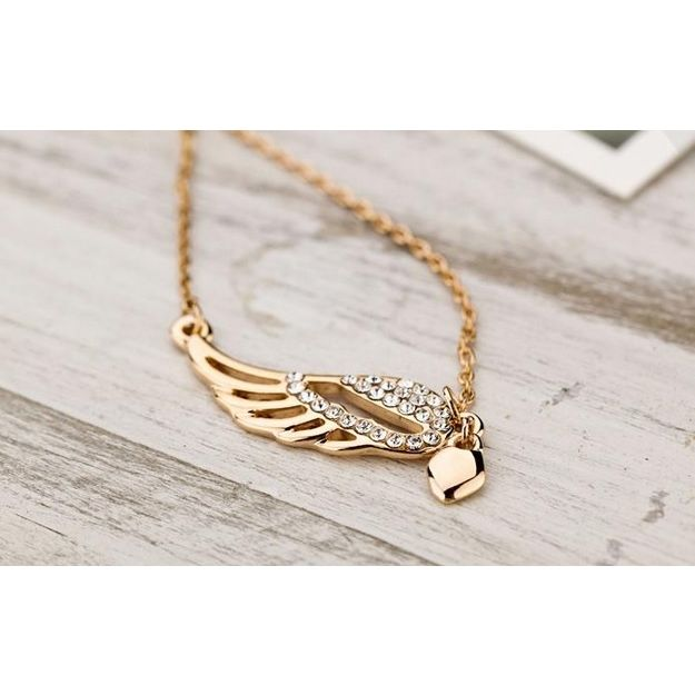 Addic Golden Crystal Studded Angel Wing Necklace For Women