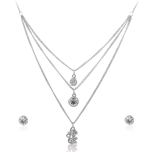 Addic Charm Layered Silver With Cute Kitty Pendent & Earrings Set