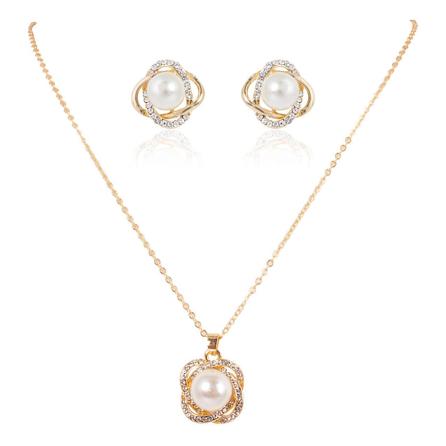 Addic Stunning Glazed Pearl Party Wear Golden Pendant & Earring Set