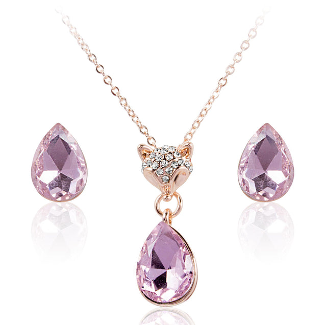 Addic Beautiful Silver Kitty Hinged With Purple Diamond Pendant & Eerrings Set