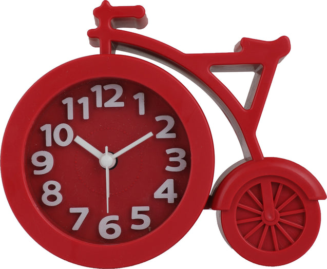 Addic Unique Bouncy Bicycle Apple Red Table Clock With Alarm (Alarm Clock For Bedside, Study Table, Home Decor & Gifts)