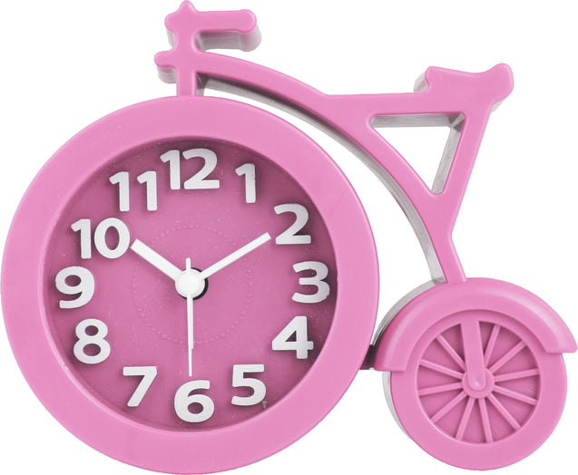 Addic Unique Bouncy Bicycle Pink Table Clock With Alarm (Alarm Clock For Bedside, Study Table, Home Decor & Gifts)