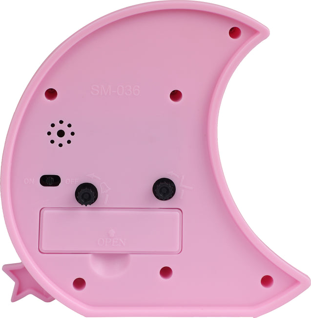 Addic Moon & Stars Cute Pink Table Clock With Alarm (Alarm Clock For Bedside, Study Table, Home Decor & Gifts)