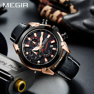 Megir Director's Fiery Black 3D Sculpted Dial Chronograph Men's Watch(2065G)