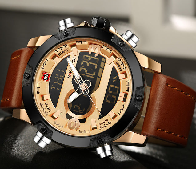 Naviforce CEO's Choice Analog & Digital Multi Function Gold Luxury Watch(NF9097)