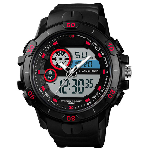 Digilog Red Highlights Black Five Display Multi Function Dual Time Analog-Digital Wrist Watch For Men & Boys
