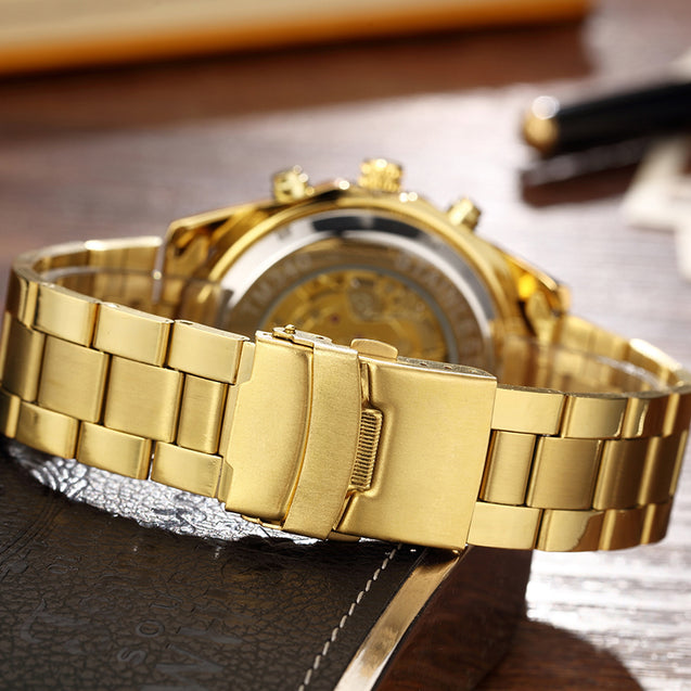 Winner Power Gold Mechanical Watch For Men (Without Battery For Life)