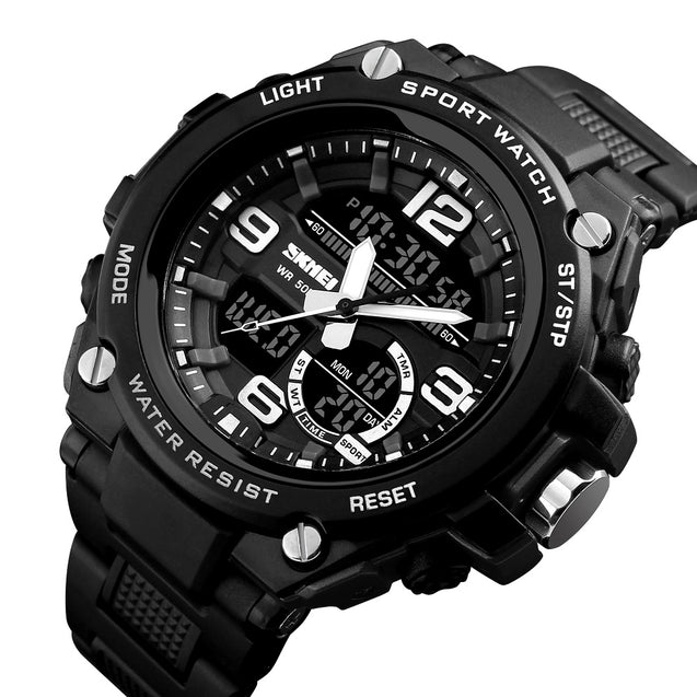 Skmei Blue & Black Analog Digital Multi-Function With Free Bracelet Watch For Men & Boys