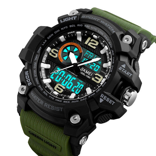 Skmei Green Analog Digital Multi-Function Sports Watch With Free Bracelet for Men & Boys