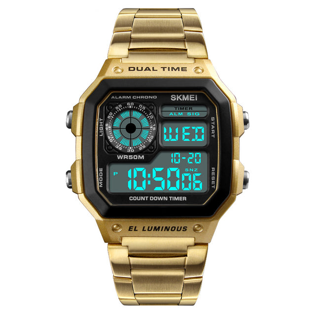 Skmei Block of Gold Digital Multi-Function Digital Watch With Free For Bracelet Men & Boys