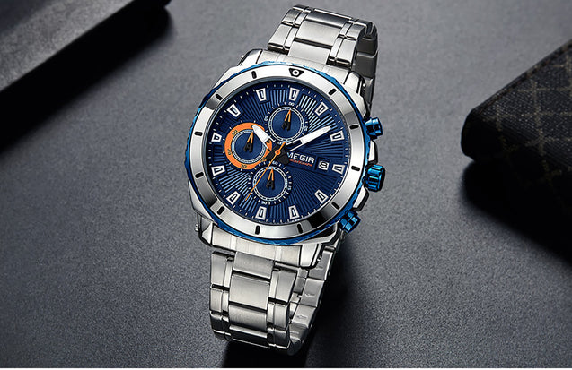 Megir Gangster Two Tone Blue Luxury Chronometer Watch For Men & Boys