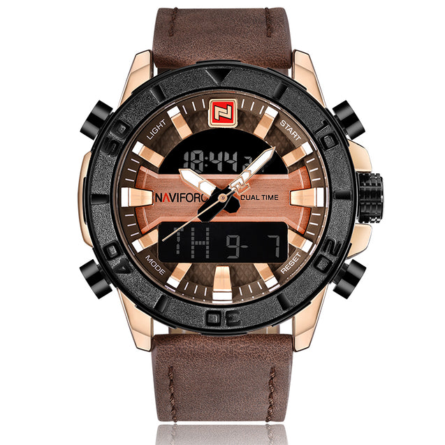 Naviforce Chunks OF Rose Gold & Brown Belt Analog Digital Wrist Watch For Men & Boys