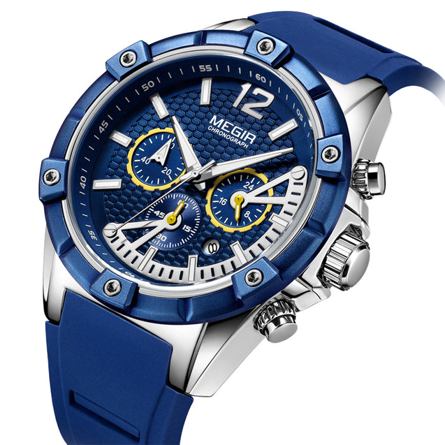 Megir Blue Blood Chronograph Luxury Watch for Men's & Boys with Free Addic Watch (MN2083GRE-BE)