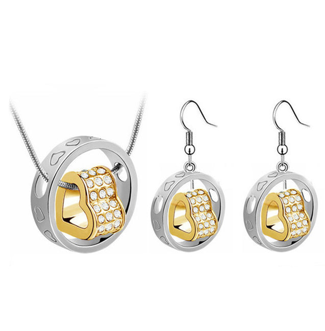 Addic Heart in Ring Silver Plated Pendant & Earrings Set for Girls and Women.
