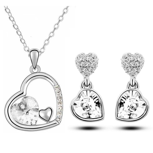 Addic Austrian Crystal Heart Shape Pendant & Earrings Set for Girls and Women.