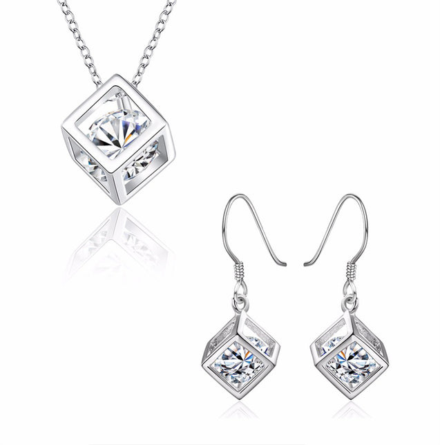 Addic Diamond In A Box Pendant & Earrings Set for Girls and Women.