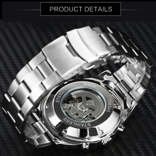 Wrath Skull Collection Silver White Dial Automatic Mechanical Watch for Men's & Boys (Without Battery for Life).