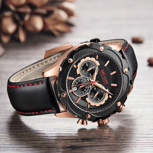 Megir Charcoal Black & Rose Gold Chronograph Men's Watch(2070G)