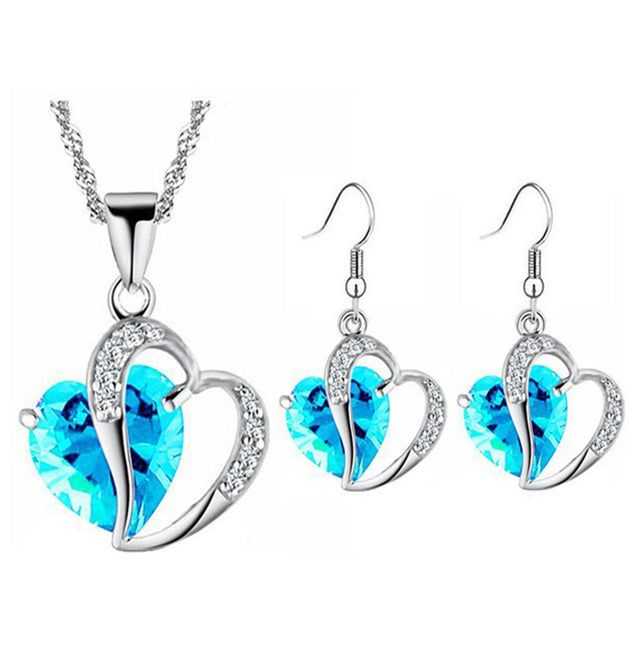 Addic Perfect Gift Double Heart Austrian Crystal Stone Pendant & Earrings Set for Girls and Women.