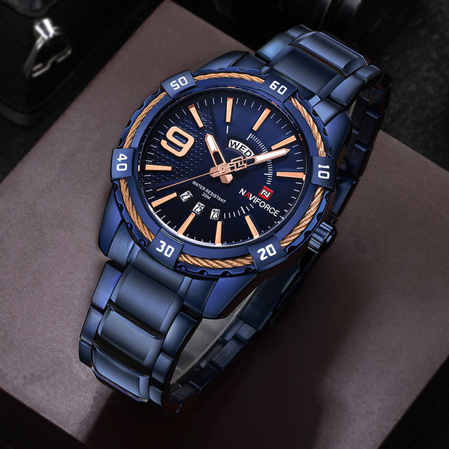 Naviforce Devil's Blue Day & Date Luxury Men's Watch(NF9117)