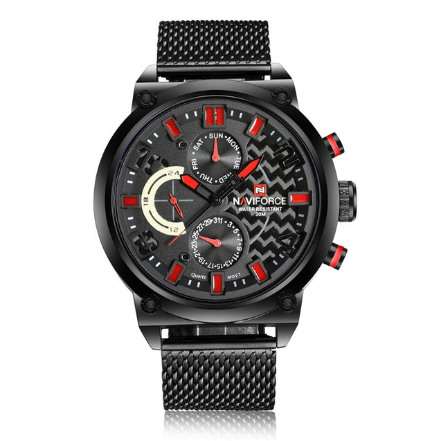 Wrath Black & Red Beats Chronograph Luxury Watch for Men's & Boys (NF9068S_B/R/B)