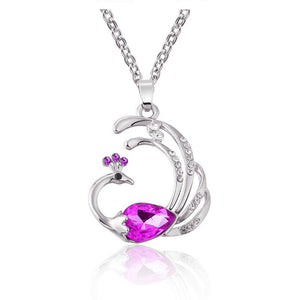 Addic Pink Austrian Crystal Peacock Pendant Valentine Gift for Girls and Women.
