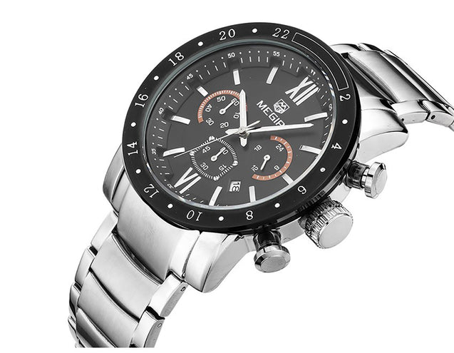 Megir Wildfire Black & Silver Luxury Chronometer Watch For Men & Boys