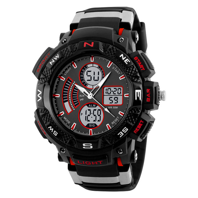 Digilog Rugged Red Multi Function Dual Time Analog-Digital Sports Watch For Men & Boys