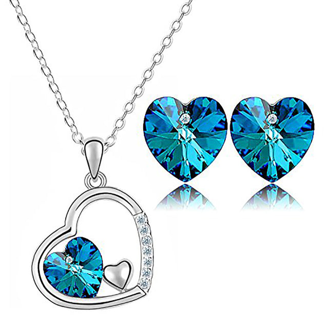 Addic Sterling Silver Heart Simulated Birth Stone Pendant Earrings Set Gifts for Women.