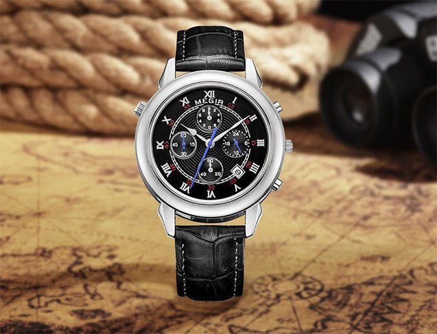 Megir Crown Prince Black Luxury Chronometer Watch For Men & Boys