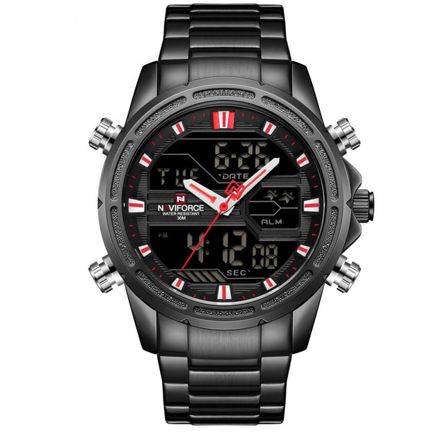 Wrath Dipped in Black Analog Digital Multifunction Luxury Watch with Blue Chain for Men's & Boys (NF9138S_BBR)