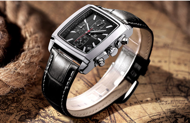 Megir Icon Extraordinary Royal Black Luxury Chronometer Watch For Men & Boys