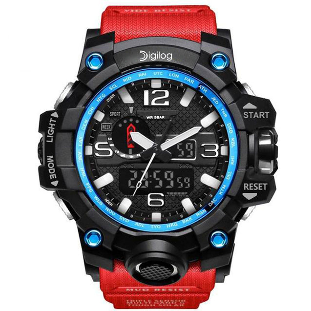 Digilog Special Forces Red & Blue Analog Digital Multi-Function Watch for Men & Boys