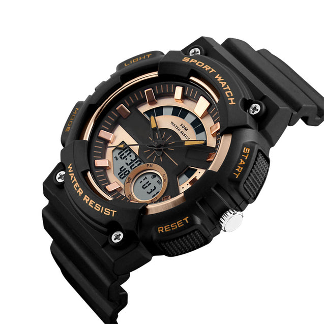 Skmei Multifunction Golden Dial Analog Digital Sports Watch For Men's & Boys.