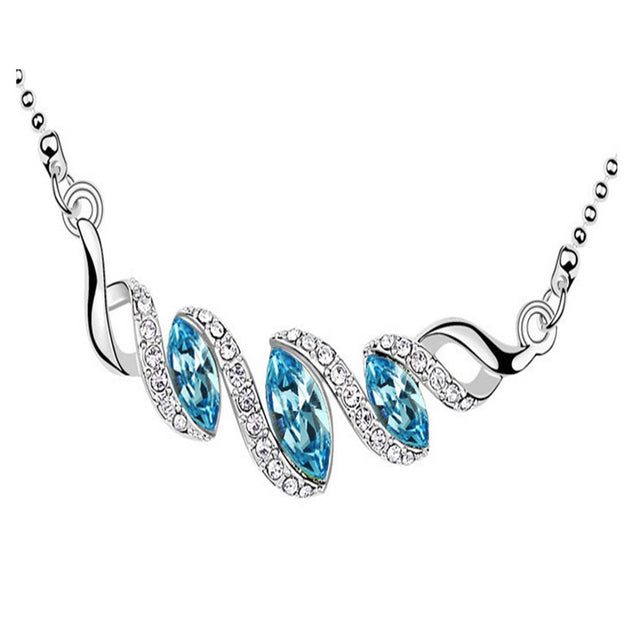 Addic Party Wear Blue Austrian Crystal Pendant Set For Girls & Women.