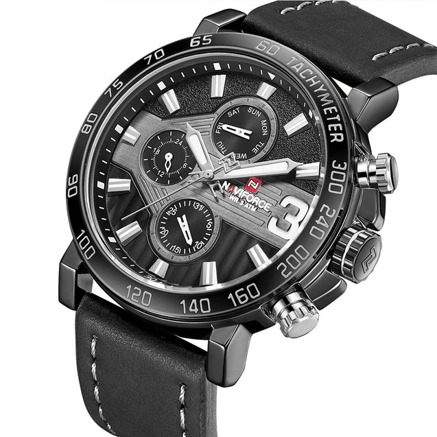 Naviforce Raider Bold Black Chronometer Wrist Watch For Men & Boys
