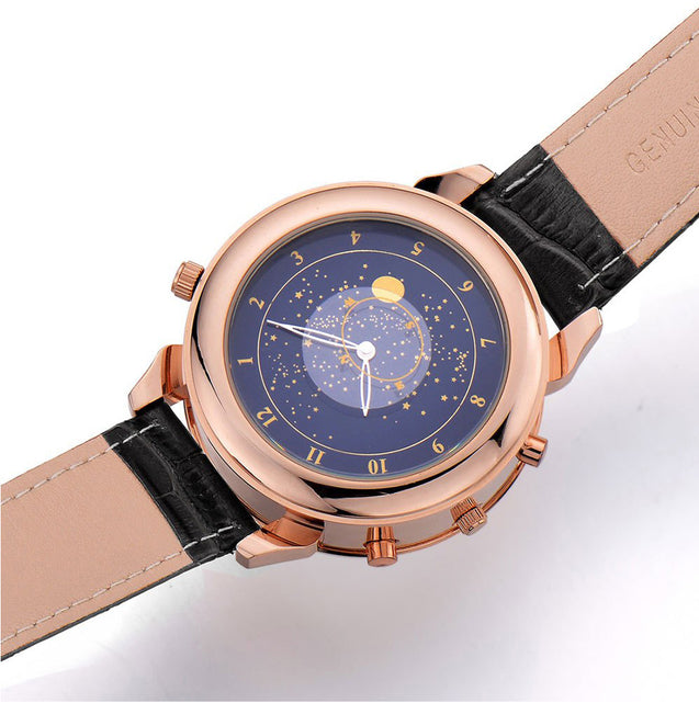 Megir Crown Prince Rose Gold Black Luxury Chronometer Watch For Men & Boys