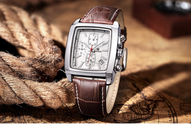 Megir Icon Extraordinary Classy Brown Luxury Chronometer Watch For Men & Boys