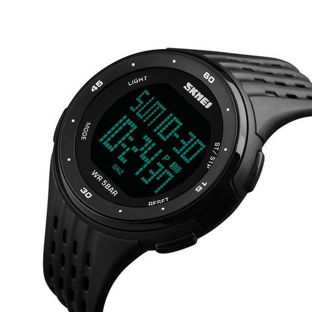 Skmei Digital Multi-functional Chronograph Black Sports Watch for Men's & Boys