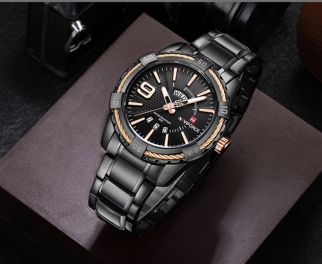 Naviforce Crisp Black Day & Date Luxury Men's Watch(NF9117)